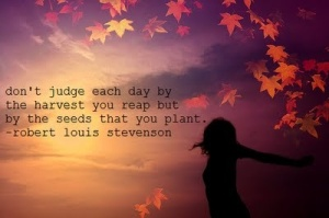 don't judge each day by the harvest